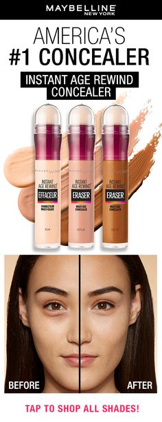 Easily contour, conceal and erase with America's #1 concealer, Maybelline's Instant Age Rewind Concealer! Tap to find your shade using our virtual try-on tool! #concealertip #naturalmakeup