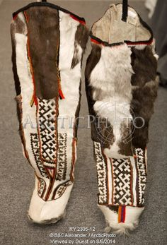 Image of a pair of traditional khanty women's reindeer skin boots. yamal, western siberia, russia by ArcticPhoto