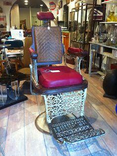decoración vintage, antiguitats-baraturantic: sillón antiguo de barbero