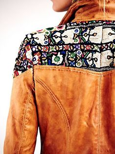 Embroidered camel leather jacket