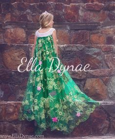 Luxury Children's Costumes Handmade in the USA by EllaDynae Elsa Cosplay, Elsa Dress, Full Length Gowns, Green Lace, Spring Dresses, Formal Dresses, Wedding Dresses, Etsy, New Dress