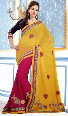 Pink and Yellow Georgette Half N Half Saree Price: Usa Dollar $101, British UK Pound £60, Euro75, Canada CA$110 , Indian Rs5454.