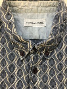 Universal Works shirt Large blue pattern short sleeve P2P 22 inches. Check out our other clothing. #universalworks #reclaimedclothing #qualityshirts #mensfashion #slowfashion