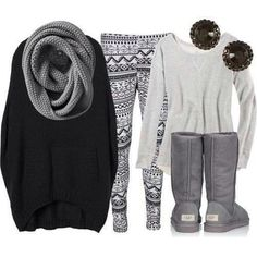 Warm and comfy. Aztec leggings, black sweater, uggs  and slouchy scarf - my kinda day.