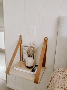 Biscuit Suede Leather Strap Side Table Shelf by H&G Designs. Modern bedside tables. Unique bedside tabe. Floating shelf. Floating bedside table. Minimalist bedroom design. Earthy bedroom style. Boho Bedroom Style. Leather Strap Shelf. Modern Bedroom Design. Simple Minimal Bedroom Style. Australian Designed. VJ Wall Paneling. #minimalistbedroom