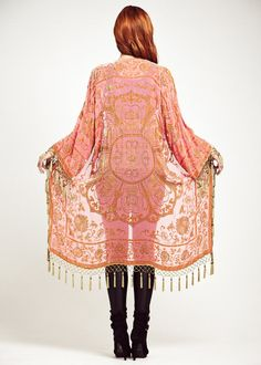 Velvet Fringe Kimono Jacket  Neon Lace by shevamps on Etsy