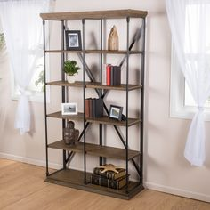 Alondra 5-Shelf Industrial Dark Khaki Wood Bookshelf