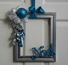 ** Blue & Silver Winter Wreath Decoration Made Out Of Thriftcycled Picture Frame, Balls, And Ribbon. @sortra