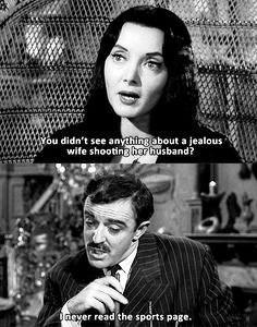 Carolyn Jones and John Astin in The Addams Family. The Addams Family 1964, Addams Family Tv Show, Addams Family Values, Morticia And Gomez Addams, Charles Addams, Carolyn Jones, Cinema, Film Quotes, Twisted Humor