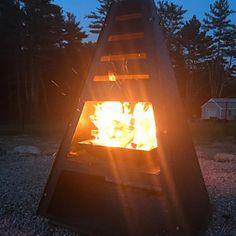 Pyro Monolith Metal Chiminea Vertical Fire Pit   Etsy Metal Fire Pit, Fire Pits, Metal Chiminea, Firewood Basket, Fire Pit Designs, Diy Chair, Diy Kits, Backyard, Outdoor Decor