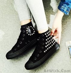 Cheap Punk Style Rivet High-top Canvas Shoes For Big Sale!Rivet High-top Canvas Shoes Full sense of the trend of the elements of metal hit classic high-top canvas shoes. Strappy Shoes, Pump Shoes, Shoes Heels, Fashion Heels, Fashion Boots, Sparkle Shoes, Cute Boots, Vegan Shoes, Vintage Shoes