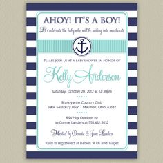 Ahoy It's a Boy  Nautical Baby Shower Invitation by doubleudesign, $16.00