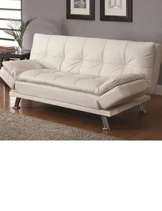 White leather futon with arms