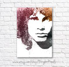 Jim Morrison Watercolor Wall Art Poster van BrightPixels op Etsy