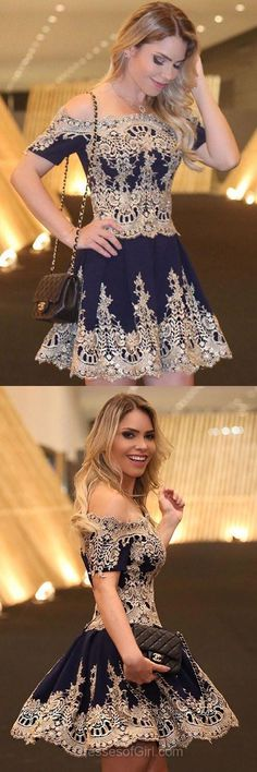 Off-the-shoulder Prom Dresses, Cute Homecoming Dresses, Lace Party Dress, Sexy Cocktail Dress, Cheap Formal Gowns - She looks a lot like Billie Piper Navy Blue Homecoming Dress, Cute Homecoming Dresses, Prom Dresses 2018, Lace Party Dresses, Lace Dress, Dress Party, Dress Sleeves, Graduation Dresses, Knot Dress