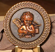Antique Button with Cupid Design
