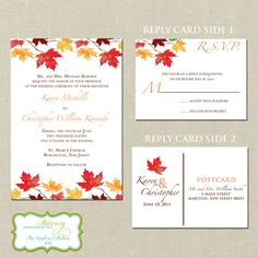 Falling In Love Autumn Wedding Invitation Set & Reply Post Card. $4.00, via Etsy.