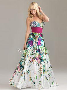 maravilloso Corte A Multicolor Strapless|Escote Corazón Hasta el Suelo Abalorio Tallas pequeñas|Cuadrado vestidos de fiesta largos -wepromdresses.com