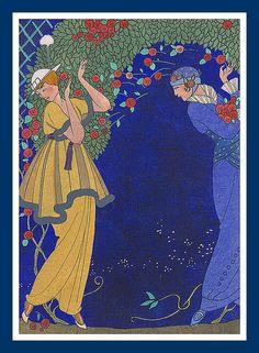 G barbier 1914 Roses dans la Nuit Mode Vintage Illustration, Art Deco Illustration, Vintage Posters, Vintage Art, Art Nouveau, Inspiration Art, Art Deco Movement, Old Postcards, Art Deco Design
