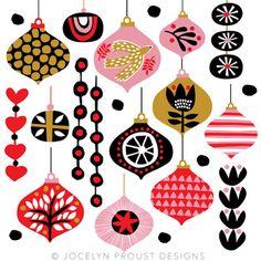 © Jocelyn Proust Noel Christmas, Christmas Baubles, Christmas Design, Vintage Christmas, Advent, Retro Christmas Decorations, Do It Yourself Inspiration, Christmas Graphics, Christmas Illustration