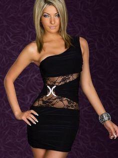 Hot Sale Single Shoulder Perspective Waist Cocktail Dresses (Black) - MissGlamor.com
