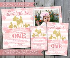 Deer Birthday Invitation, Deer Invitation, Deer Invite, Christmas, Winter, Snowflakes, 1st Birthday, First Birthday, Pink and Gold, #515 by PerfectPrintableCo on Etsy