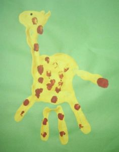Handprint/fingerprint giraffe  http://media-cache-ec0.pinimg.com/originals/eb/16/e0/eb16e0c28fedfd413f3ac8f0aa836c71.jpg