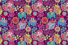 Check out 2 Floral Patterns with elephants by Sunny_Lion on Creative Market