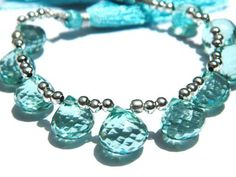 AAA Aqua blue Quartz Faceted Onion Briolettes Size - 10mm approx.Great Item, Amizing Quality. | gemstonebeadsncraft - Je