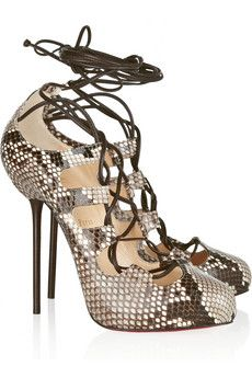 Delicious, unaffordable. Christian Louboutin Wales 120 python lace-up pumps | THE OUTNET