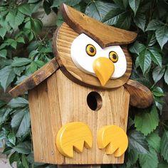 "Rustic Birdhouse ""The Owl"" ,, Wooden Birdhouse, Birdhouse Hanging, Vintage Birdhouse - Garten - Bird Supplies Wooden Bird Houses, Decorative Bird Houses, Bird Houses Diy, Bird House Plans Free, Bird House Kits, Bird House Feeder, Hanging Bird Feeders, Homemade Bird Houses, Birdhouse Designs"