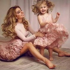 This pretty-in-pink pair. | 18 Matching Mother-Daughter Outfits That Are Just Too Cute