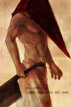Silent Hill - Pyramid Head by ~ameij on deviantART. Scariest bad guy EVER Scary Movies, Horror Movies, Horror Art, Paranormal, Silent Hill Art, Pyramid Head, Red Pyramid, Horror Video Games, Cosplay