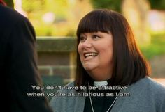 Dawn French as Geri, talking to Richard Armitage as Harry. The Vicar of Dibley.