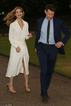 Love: Lily James and actor Matt Smith served up a romantic display when they stepped out together at Kensington Palace on Monday