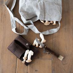 JA\UND? Pilzset aus Leder und Leinenbag. Ideal für alle Pilzsammler.