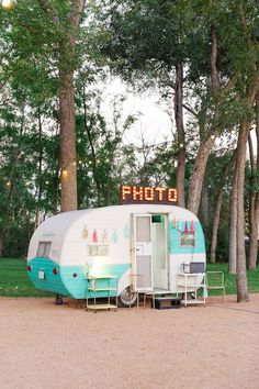 Traveling photo booth in vintage trailer