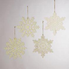 "WorldMarket.com: Laser-Cut Wooden Hanging 12"" Snowflakes, Set of 4"