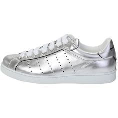 Silver Laminated Leather Sneakers ($345) ❤ liked on Polyvore featuring shoes, sneakers, metallic, dsquared2 sneakers, metallic shoes, dsquared2, real leather shoes and leather shoes
