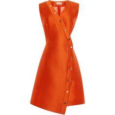 Suno Cutout Snap Dress (1,120 CAD) ❤ liked on Polyvore featuring dresses, asymmetrical dress, wrap front dress, a line dress, sleeveless dress and orange dress