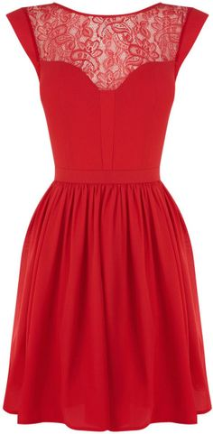 Oasis Red Abbey Lace Chiffon Skater Dres