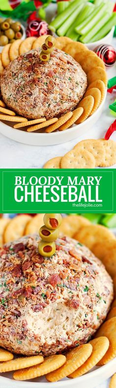 This Bloody Mary Cheeseball Recipe is the best easy appetizer option for entertaining. Made with many of the same ingredients and toppings as a traditional Bloody Mary drink (but without the alcohol) this family friendly hors d'oeuvre is full of great fla