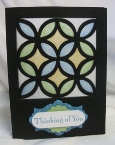 black stain glass window card. Lattice Bigz die. 115958. creped filter paper 129393.