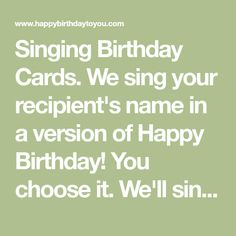 We sing your recipient's name in a version of Happy Birthday! You choose it. Free Singing Birthday Cards, Funny Happy Birthday Song, Happy Birthday Pictures, Birthday Songs, Funny Birthday Cards, Birthday Wishes, Happy Birthday Celebration, Happy Birthday Greetings, Good Morning Prayer