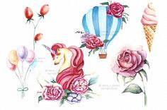 Magic flower clipart Birthday clipart wedding от SpringArtShop