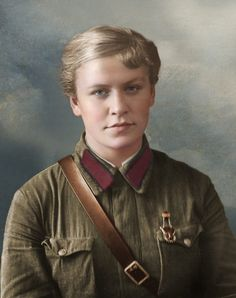 """Medical student Capitolina Reshetnikova with the badge """"Ready for work and defense"""", end of the thirties or (may be) 1940-41"""