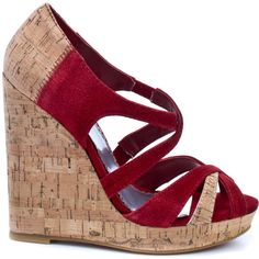 Bebe Shoes Women's Nakita - Red Suede (€46) ❤ liked on Polyvore