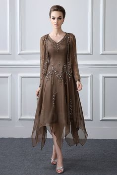Sheath/Column V-neck Tea-length Asymmetrical Mother of the Bride Dress With Beading Sequined
