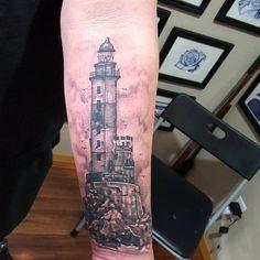 Thanks hector. Lighthouse. #tattoo #tattoooftheday