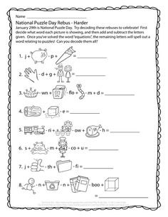 National Puzzle Day Rebus - Hard Rebus Puzzles, Logic Puzzles, Word Puzzles, Puzzles For Kids, Printable Puzzles, Brain Teasers Riddles, Brain Teasers For Kids, Brain Teaser Puzzles, Puzzle Club